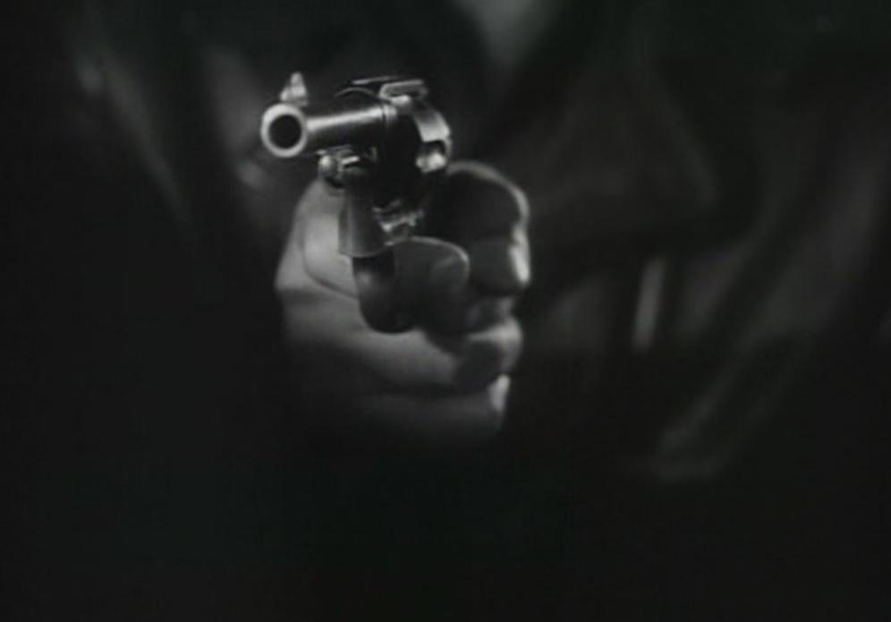 The Hitch-Hiker (1953) thumbs up hitch hiker Emmett Myers William Talman gun hold up