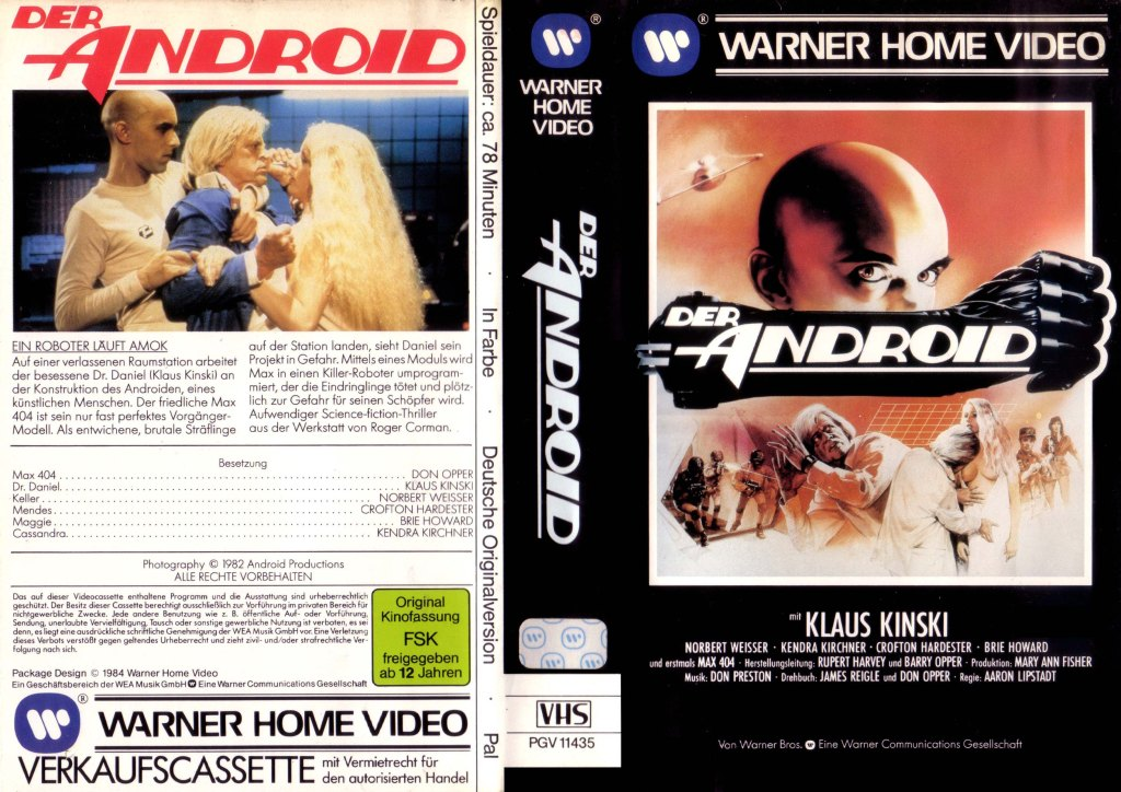 android (1983) 1982 german cover of vhs cassette box rental