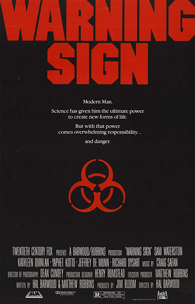 Warning Sign (1985) poster virus mutant zombie infected rage horror film